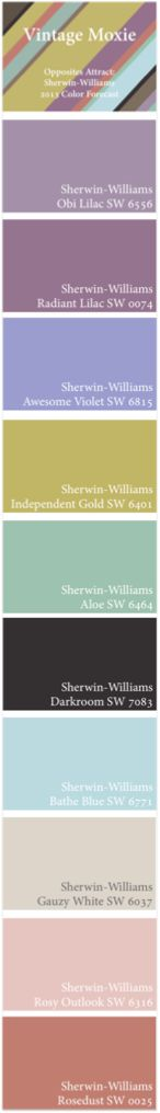 Opposites Attract: Sherwin-Williams 2013 Color Forecast -- Vintage Moxie Palette