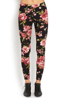 Forever 21 Sweet Floral Leggings in Black (Black/pink)