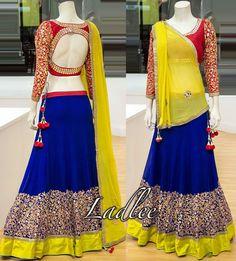 red, blue and yellow - bright chaniya choli - blouse sleeves and back