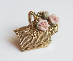1928 Jewelry Co. Basket Brooch Pin with Porcelain by therosestreet, $7.00  http://www.etsy.com/shop/therosestreet