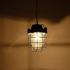 Vintage  salvaged Soviet Polish caged industrial factory pendant light lamp