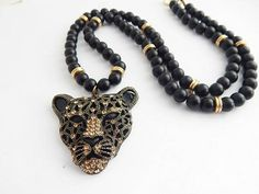 Panther Necklace African Black Panther Jewelry Mens Statement Necklaces cheetah Black Gold Black Beaded Agate Panther Pendant Afrocentric by TheBlackerTheBerry