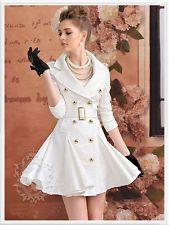 NWT WOMENS GOLD BUTTON DOUBLE BREASTED WHITE TRENCH PEACOAT LOLITA VICTORIAN *