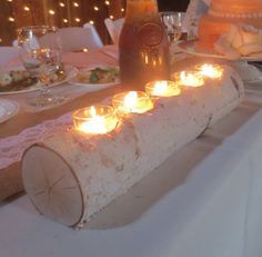 Birch Log Tea light Candle Holder
