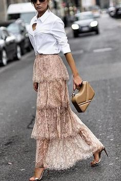 Start With Lace Tiered Skirt – UnikWe Boutique The Effective Pictures We Offer You About Midi Skirt Midi Skirt Outfit Casual, Lace Skirt Outfits, Long Lace Skirt, Pleated Midi Skirt, Long Skirt Outfits For Summer, Modest Skirts, Tiered Skirts, Mini Skirts, Business Casual Outfits