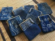 Olympus Sashiko Fabric Tablerunner Kit - Temari Balls & Seven Treasures - Navy - Japanese Embroidery, Quilting, Sewing - Embroidery Design Guide Sashiko Embroidery, Japanese Embroidery, Hand Embroidery Stitches, Hand Embroidery Designs, Embroidery Thread, Machine Embroidery, Embroidery Supplies, Embroidery Techniques, Embroidery Tattoo