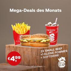 Yupiiii endlich WEEKEND :) . Gönn dir am Wochenende für nur 4,99 € einen leckeren Mega-Deal von HFC: . 2 x Small Beef Burger + 1 kleine Pommes + Softdrink . Und den Muffin gibt es GRATIS dazu ;) . #hfc #hfchicken #hfchickende #fastfood #burger #burgers #hamburger #chickenburger #fingerfoods #food #instafood #chicken #instaburgers #deutschland #dillenburg #giessen #lieferservice #angebot #aktion #deal Fast Food, Hamburger, Muffin, Beef, Chicken, Ethnic Recipes, Action, Germany, Meat