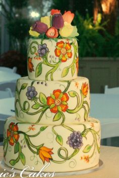 Pretty painted cake! Courtesy carriescakes.com