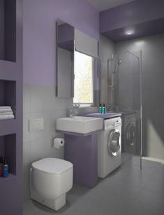 kleines bad gestalten waschmaschine lila wandfarbe