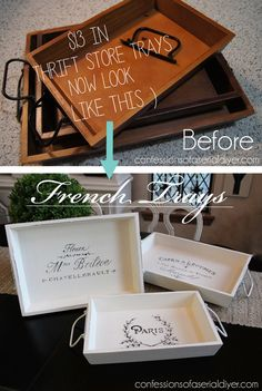 French Trays Thrift Store Trays transforemd with French Graphics!Thrift Store Trays transforemd with French Graphics! Do It Yourself Furniture, Do It Yourself Home, Furniture Makeover, Diy Furniture, Rustic Furniture, Antique Furniture, Modern Furniture, Furniture Refinishing, Furniture Removal