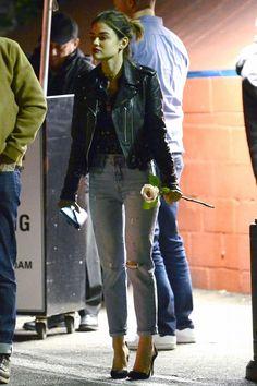 Lucy Hale wearing Gianvito Rossi Plexi Suede Pumps