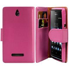 Housse Coque Etui Portefeuille pour Sony Xperia E Couleur Rose Fushia : en vente sur RueDuCommerce