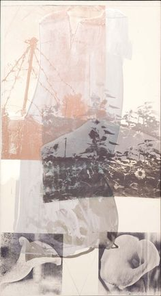 """The series consists of canvases painted and silkscreened with Rauschenberg's photographs and various autobiographical references. The series began with """"salvaged"""" drop cloths that the artist used when silkscreening costumes for Trisha Brown Dance Company's Set and Reset (1983)."""