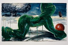 Raymond Pettibon, No Title (And he is), 2008. Pen, ink, gouache and acrylic on paper. 13 x 22 1/4 inches. Photography by Joshua White / JWPictures.com #JoshuaWhitePhotography #JWPictures #RaymondPettibon #Art #Drawing #Painting #AndHeIs