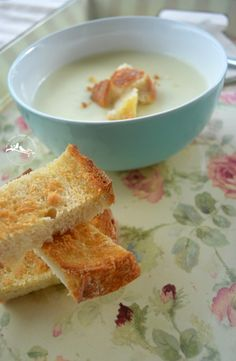 bowl of Cauliflower Soup with toasted parmesan sourdough croutons ...