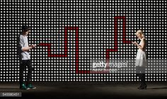 Stock Photo : texting in front of lightwall