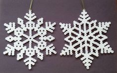 Perler Bead Snowflakes by Joanne Schiavoni Easy Perler Bead Patterns, Perler Bead Art, Christmas Perler Beads, Christmas Snowflakes, Beading For Kids, Christmas Arts And Crafts, Melting Beads, Fuse Beads, Bead Crafts