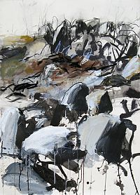 popgoesred: Tim Allen Granite Field, Monaro PlainsAcrylic, gouache, ink and charcoal on paper 780 x 1090 mm Contemporary Landscape, Landscape Art, Landscape Paintings, Landscapes, Tim Allen, 3d Drawings, Modern Landscaping, Painting Techniques, Gouache