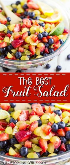 Easy Homemade Fruit Salad This Best Fruit Salad is easy to make and uses fresh, juicy berries. It's the perfect use for all the fresh summer fruit! Plus, one simple, natural ingredient that makes it amazing. Delicious side or dessert for a summer cookout, Homemade Fruit Salad, Best Fruit Salad, Summer Salads With Fruit, Fruit Salad Recipes, Fresh Fruit, Cookout Side Dishes, Cookout Food, Potluck Dishes, Fruit Dishes
