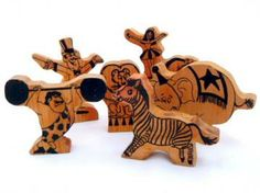 Wooden Circus Figures by YesterStore for $16.00