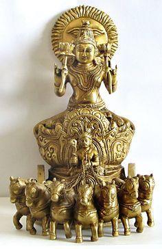 Surya - The Sun God in Hindu Mythology Indian Goddess, Goddess Lakshmi, Diwali Decoration Lights, Pichwai Paintings, Hindu Statues, Shiva Linga, Lord Ganesha Paintings, Lotus Art, Krishna Statue