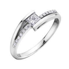 Bague de fiançailles sertis de diamants Canadiens totalisant 0.25 Carats - Chaque diamant est numéroté et certifié de pureté I. La couleur varie pour chaque diamant. Toutes les informations sont sur le certificat d'origine - en or blanc 10K