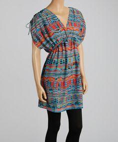 Blue & Coral Southwest Surplice Tunic #zulily #zulilyfinds  *Now $17.99