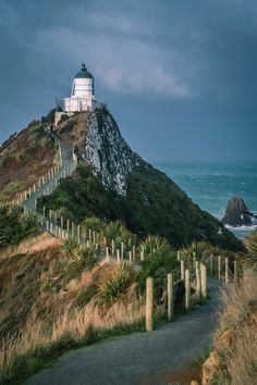 Lighthouse on the Nugget Point, stunning part of New Zealand south Island coast Lighthouse Photos, New Zealand South Island, London Skyline, Pacific Coast, Monument Valley, Castle, Stock Photos, Beach, Travel