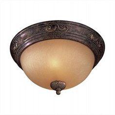 Caspian Golden Bronze Flush Ceiling Light (2-60W) $49.90 (Bathroom 2)