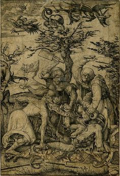 """Three Haggard-looking Old Women, Possibly Witches, Beating the Devil to the Ground - Devilish creatures in the sky, landscape background; another impression; large section at lower right made up. Inscription reads """"Give Peace."""" Etching made by Daniel Hopfer, Germany, 1505-1536."""