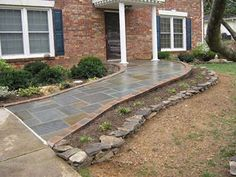 A great looking example of this is this brick and stone wheelchair ramp by Schaffer Construction of Leesburg, Virginia. Handicap Accessible Home, Handicap Ramps, Ramp Design, Access Ramp, Porch Steps, Front Entrances, House Front, Curb Appeal, Exterior