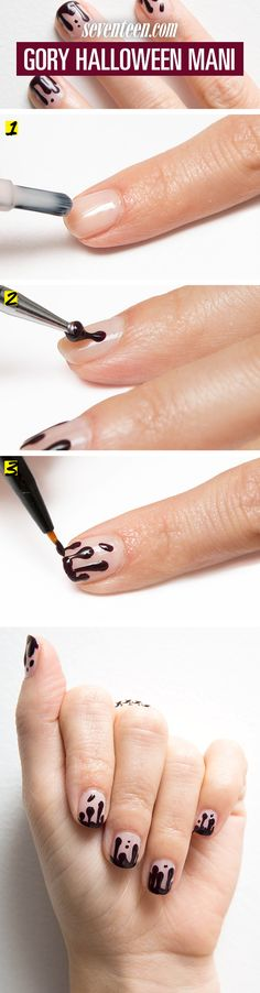 Take your Halloween costume to the next level, with this creepy, cool blood drip mani.