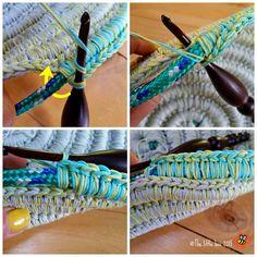 The Ropey Rainbow Basket - free tutorial Crochet Rope, Filet Crochet, Crochet Stitches, Knit Crochet, Owl Crochet Pattern Free, Crochet Basket Pattern, Crochet Patterns, Crochet Basket Tutorial, Crochet Patron