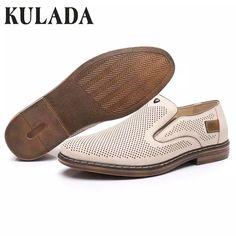 75532254 KULADA Summer Shoes Men's Leather Hollow Out Sandals Slip-On Fashion-Loafer  Shoes Men