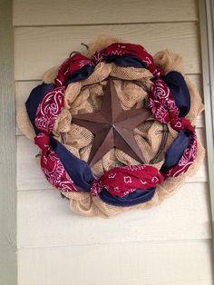 Custom denim and bandana wreath Burlap Projects, Burlap Crafts, Wreath Crafts, Arts And Crafts Projects, Burlap Wreath, Diy Projects, Diy Crafts, Holiday Crafts, Holiday Ideas
