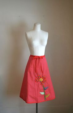 vintage 70s wrap skirt  APPLIQUED FLOWER red polkadot by MsTips, $25.00