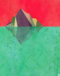 Iceberg Geometric Nature Inspired  Art Print door thepairabirds