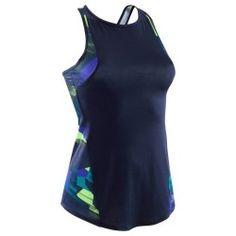 0c4a59297 Camisola de Alças Cardio Fitness Mulher ENERGY+ Azul motivos Amarelos
