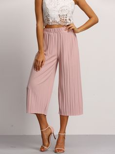Shop Pink Elastic Waist Pleated Pant online. SheIn offers Pink Elastic Waist Pleated Pant & more to fit your fashionable needs.