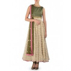 Printed Anarkali Suit with Olive Green Dupatta