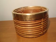 Large Vintage Rattan Planter with Brass Rim. by DragonflyGypsySoul
