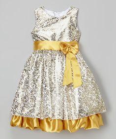 Look at this #zulilyfind! Gold Paisley Bow-Sash Dress - Toddler by Kid Fashion #zulilyfinds