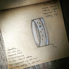 Bespoke engagement and wedding ring initial design sketch from VAESSEN WALKER
