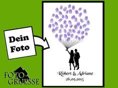 Hochzeitsgästebuch - Gästebuch mit DEINEM FOTO Ballon (PDF) - ein Designerstück von Fotogruesse bei DaWanda