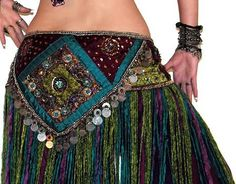 Peacock colored belly dance hip scarf with fringe and coins. SOOOO beautiful! chachakrause