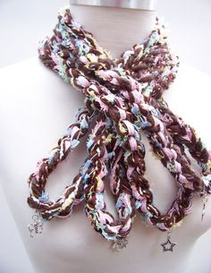 Infinity Scarf with Silver Charms by Sewstacy, $25.00
