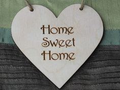 1x Wooden Heart Engraved Rustic Home Sweet Home Hanging Shape Unpainted Tag 10x10cm