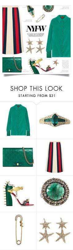 """NYFW: Gucci + Missoni"" by greengoblinz ❤ liked on Polyvore featuring Missoni, Gucci, Bavna, Bling Jewelry and Oscar de la Renta"
