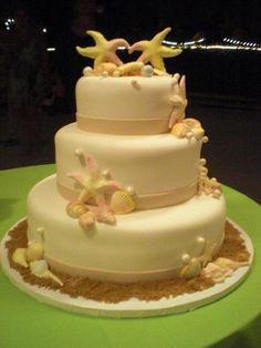 Starfish Themed Wedding Cake