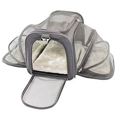 Jet Sitter Luxury Pet Carrier - Airline Size, Soft Sided Foldable and Spacious, Improved Design with Seat Belt Buckles, Mesh Stretch Pocket, Velcro Comfort Handle Dark Gray) Jet Sitter Luxury Pet Carrier - for your jet setting petFashion Meets Function. Online Pet Supplies, Dog Supplies, Pets Online, Airline Pet Carrier, Cat Cages, Cat Towers, Dog Bag, Cat Carrier, Pet Furniture